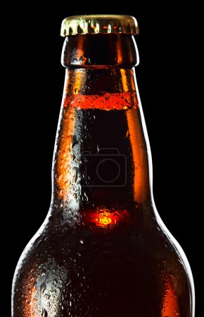 Photo for Frozen beer bottle isolated on black background , saved clipping path - Royalty Free Image