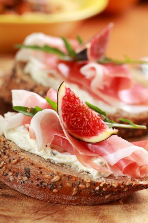 Photo for Sandwich with prosciutto, goat cheese and fig - Royalty Free Image
