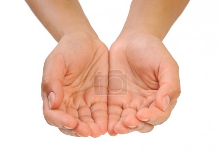 Cupped hands of young woman - isolated on white background