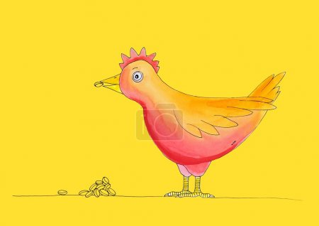 Chicken having meal, child's drawing, watercolor painting on paper