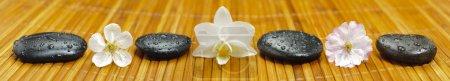 Photo pour Jardin zen avec des fleurs et des pierres en ligne - image libre de droit
