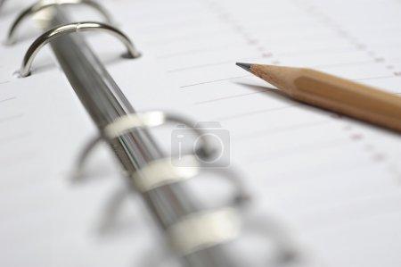 Foto de Planificador de tiempo negocios con lápiz - Imagen libre de derechos