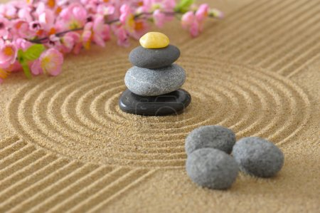 Photo for Japan zen garden with stone in sand - Royalty Free Image