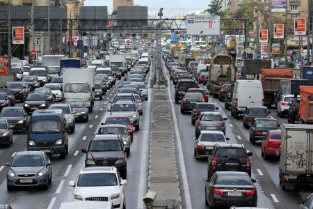 Photo for Moscow. Day traffic jam on the Sushchevskiy Val street - Royalty Free Image
