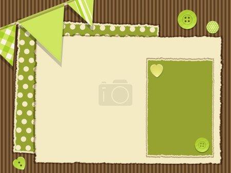 Foto de Antecedentes de recortes de cartón corrugado con paneles de papel rasgado, botones y empavesado - Imagen libre de derechos