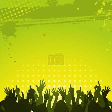 Silhouette crowd partying in front of abstract grunge green and yellow background