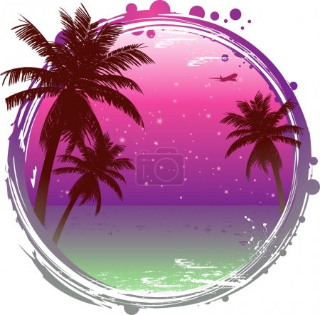 Illustration for Abstract tropical sunset background with palm trees and tranquil ocean - Royalty Free Image