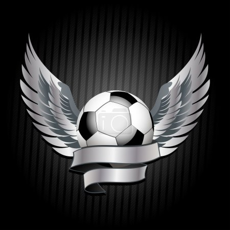 Glossy football with banner and wings on a black texture background