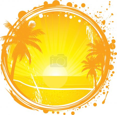 Illustration for Tropical frame, sunset on the beach, vector illustration, EPS file included - Royalty Free Image
