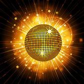 Glowing disco ball on a light burst background