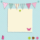 Scrap book background with bunting torn paper and buttons