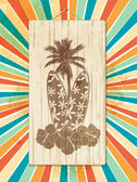 Tropical Palm Trees and Surfboard Wooden Sign on a Star Burst Background