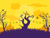 Halloween Cartoon Vector Background with Curly Trees Lanterns and Grave yard