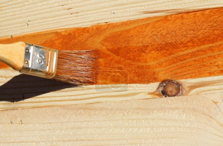 Photo for Painting bare wood - Royalty Free Image
