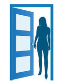 Blue opened door with woman's silhouette vector