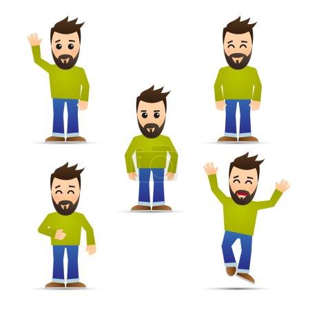 Illustration pour Hommes avec barbe isolée ob blanc - image libre de droit