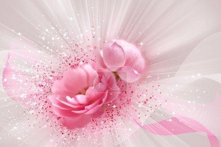 Foto de Hermosas rosas con bandas, luces y puntos - Imagen libre de derechos