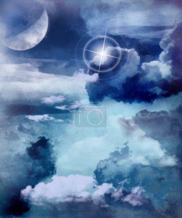 Foto de Ilustración de la luna, las nubes y el cielo - Imagen libre de derechos