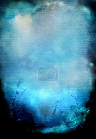 Foto de Fondo de papel de acuarela azul con las plantas - Imagen libre de derechos