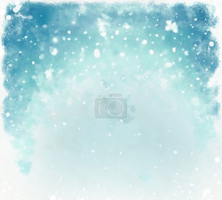 Photo for Blue christmas watercolor background with snowflakes - Royalty Free Image