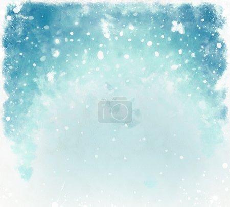 Foto de Fondo acuarela Azul Navidad con copos de nieve - Imagen libre de derechos