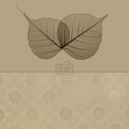 Foto de Translúcido hojas sobre fondo marrón con patrón de encaje - Imagen libre de derechos
