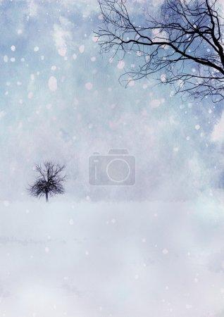 Foto de Paisaje nevado con rama sobre papel de acuarela - Imagen libre de derechos