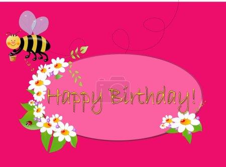 Foto de Tipo ilustración de cumpleaños con emblema, flores blancas y abeja, sobre fondo rosa - Imagen libre de derechos