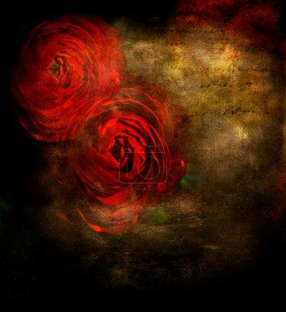 Foto de Fondo acuarela Grunge con rosas rojas - Imagen libre de derechos