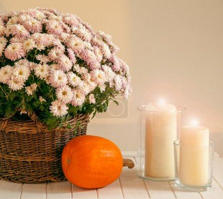 Foto de Decoraciones otoñales - casa labra con calabazas, velas y flores en maceta - Imagen libre de derechos