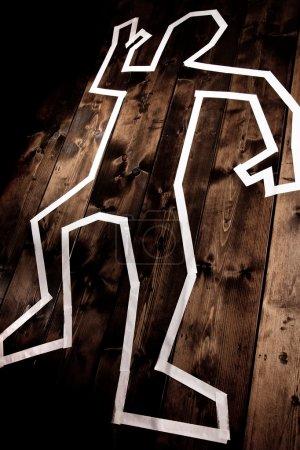 Dead man outline on floor