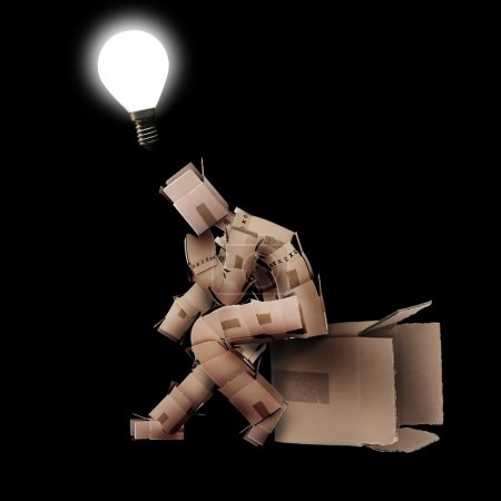 Light bulb moment concept with box man on black background