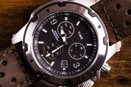 Gents analogue watch close up