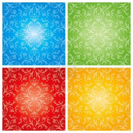 Illustration for Abstract flowers with four season background in editable vector format - Royalty Free Image