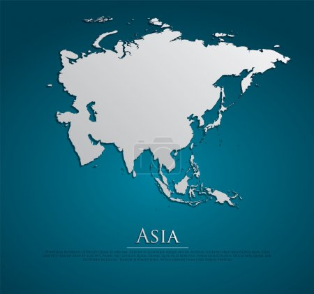 Vector Asia Map card paper on blue background, hig...