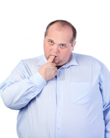 Fat Man in a Blue Shirt, Thumb-Sucking