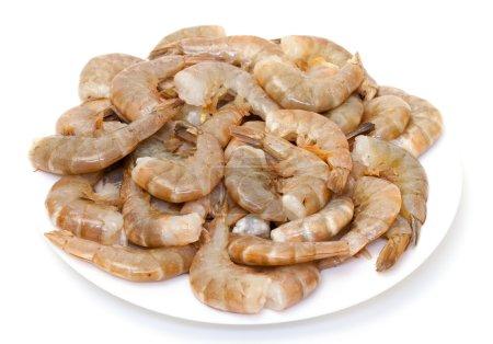 Photo for Raw headless prawns on white background - Royalty Free Image