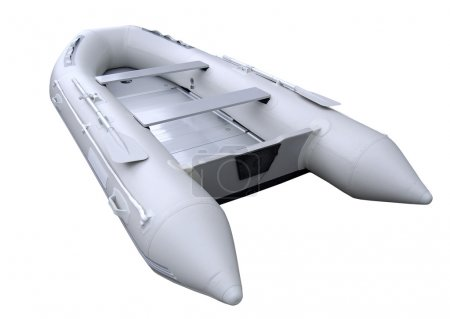 Grey inflatable boat with path