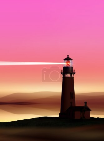 Romantic lighthouse near Atlantic seaboard shining...
