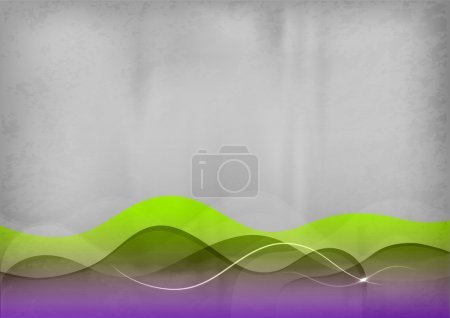Illustration for Green and purple wave on the grey background - Royalty Free Image