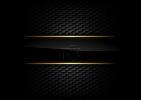 Illustration for Black stripe with gold border on the dark background - Royalty Free Image