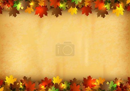 Illustration pour Fond d'automne - feuilles sur l'ancienne texture de papier - image libre de droit