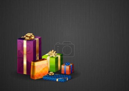 Illustration pour Cadeaux de Noël sur le fond sombre - image libre de droit