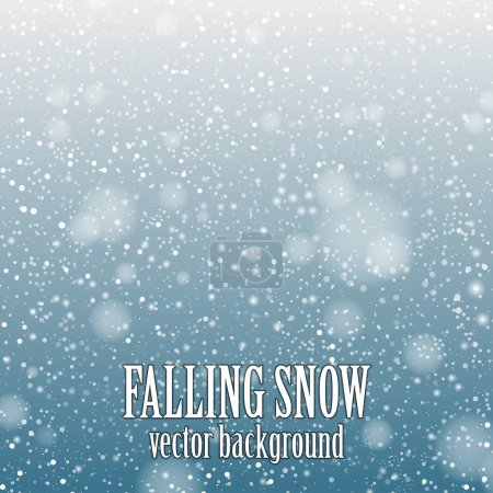 Falling snow on the blue background - vector image...