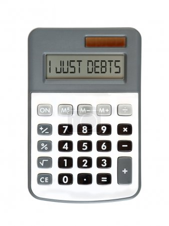 Photo pour Message sur l'écran - parle de l'argent - j'ai je viens dettes - image libre de droit