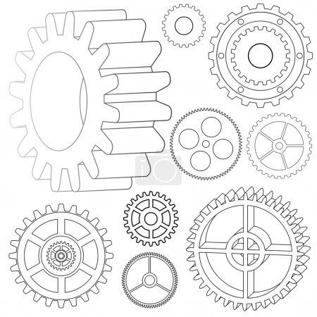 Illustration pour Illustration vectorielle des différents engrenages - roues dentées - image libre de droit