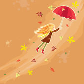 Flying autumn girl