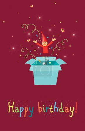 Illustration for Jack in the box birthday card - Royalty Free Image