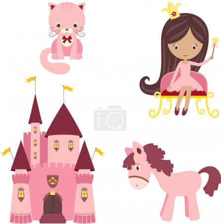 Photo for Vector illustration of pink princess design elements - Royalty Free Image