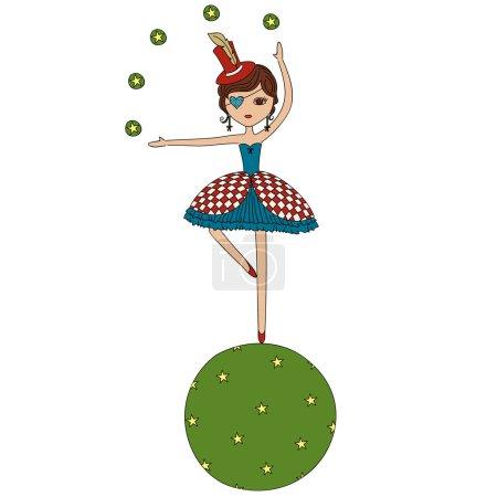 Cartoon circus girl acrobat